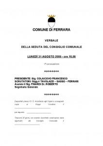 Verbale consiglio comunale 31-08-2009