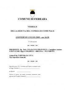 Verbale consiglio comunale 09-07-2009