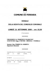 Verbale consiglio comunale 21-09-2009