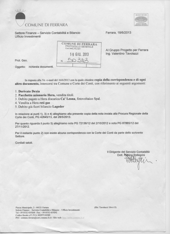 risposta Comune a rch del 16.6.13